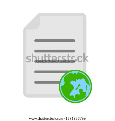 document with earth - green world icon