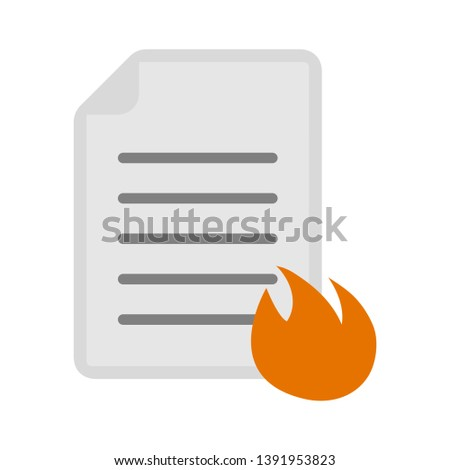 document with fire flame icon