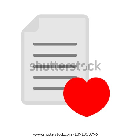 document with heart - love icon