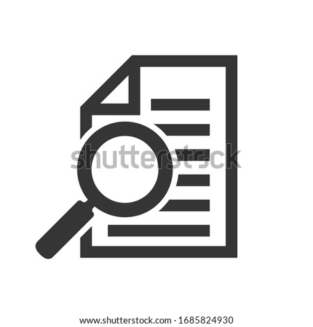 Document with magnifying glass icon. Magnifier for document. Conceptual vector icon