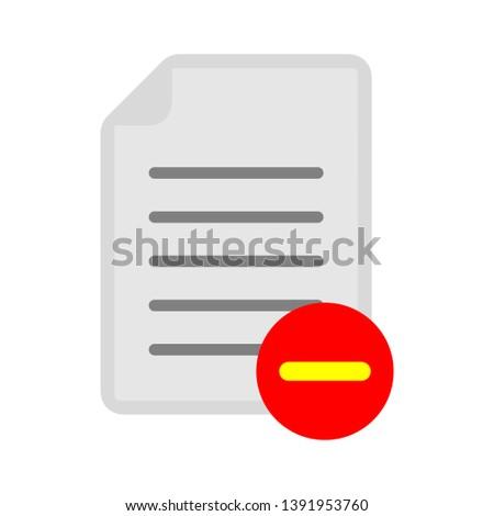 document with minus sign - delete icon