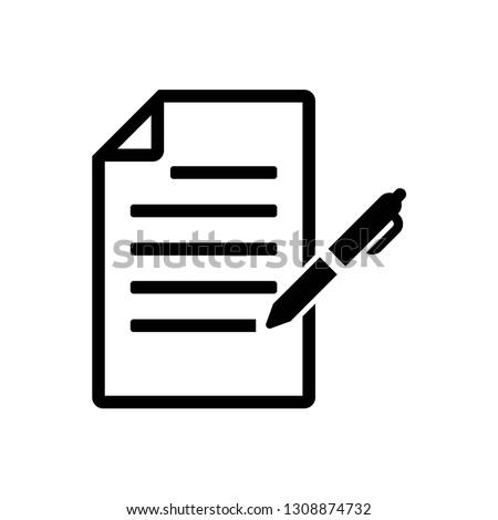 document with pen icon symbol vector. on white background Imagine de stoc ©