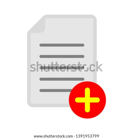 document with plus sign - interface icon