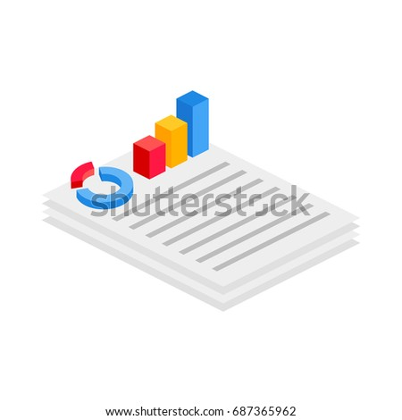 Document with report isometric icon