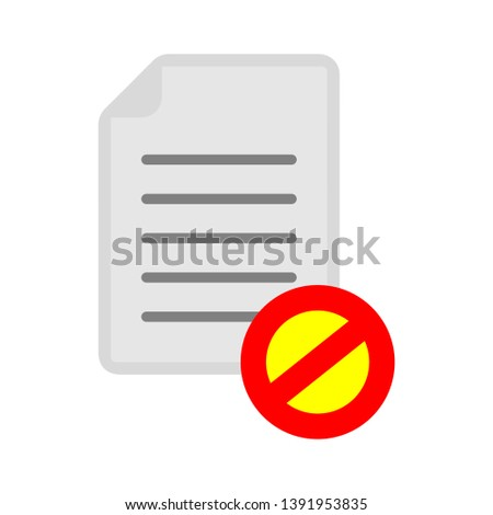 document with restricted sign - safe and protection icon