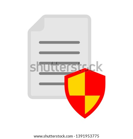 document with security shield sign - protection icon
