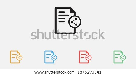 Document with share icon. Vector illustration icon. Filled vector icon. Shared document sign. Set of colorful flat design icons Photo stock ©