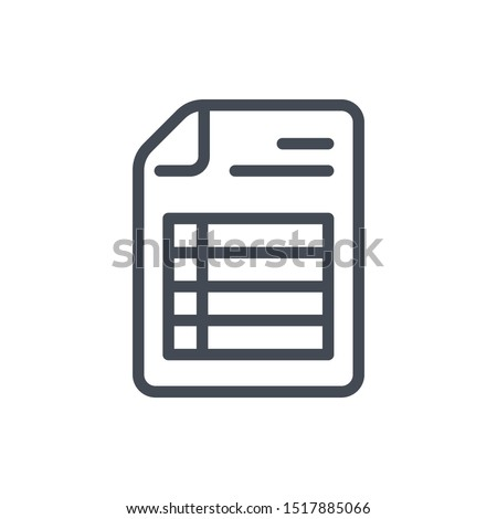 Document with spreadsheet line icon. File with pivot table page vector outline sign.