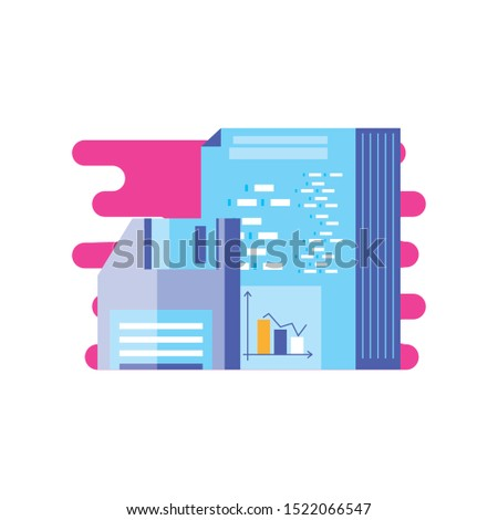 document with statistical and floppy disk vector illustration design