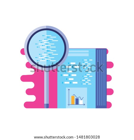 document with statistical with search magnifying glass
