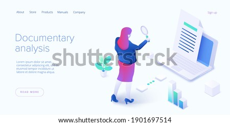 Documentary analysis in isometric vector illustration. Document qualitative research with woman looking through magnifier. Web banner layout. Foto d'archivio ©