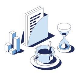 Documentation analyst, work office,  tea break and hourglass composition. Vector 3d line isometric, web icons, blue color. Creative design idea for infographics.