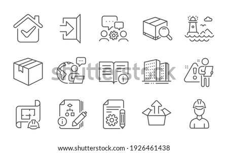 Documentation, Lighthouse and Send box line icons set. Algorithm, Technical info and Parcel signs. Search package, Buildings and Engineering team symbols. Exit, Engineering plan and Foreman. Vector ストックフォト ©