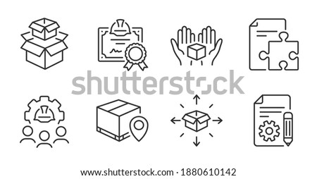 Documentation, Parcel delivery and Packing boxes line icons set. Certificate, Engineering team and Parcel tracking signs. Strategy, Hold box symbols. Project, Logistics service, Delivery box. Vector