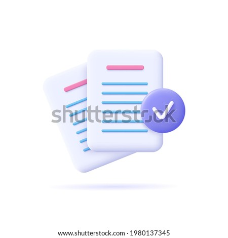 Documents icon. Stack of paper sheets. Confirmed or approved document. Business icon. 3d vector illustration.