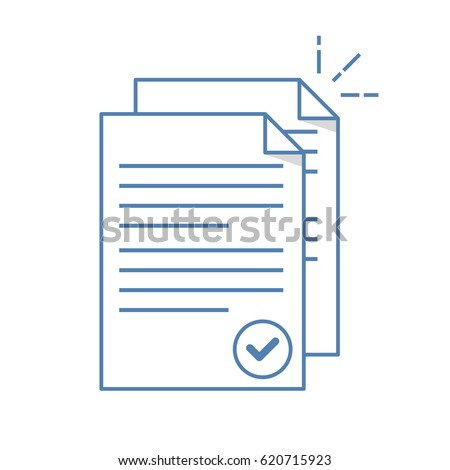 Documents icon. Stack of paper sheets. Confirmed or approved document. Flat line illustration isolated on white background.