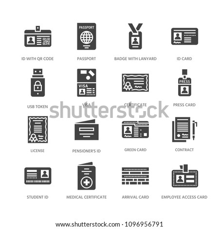 Documents, identity vector flat glyph icons. ID cards, passport, press access student pass, visa, migration certificate, token legal contract illustration. Solid silhouette signs pixel perfect 64x64.
