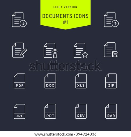 Documents Light Line Icons