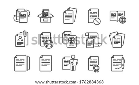 Documents line icons set. Contract agreement, Passport, Copy files. CV interview, documents workflow, attachment clip icons. Change files, wrong document, bureaucracy and contract signature. Vector