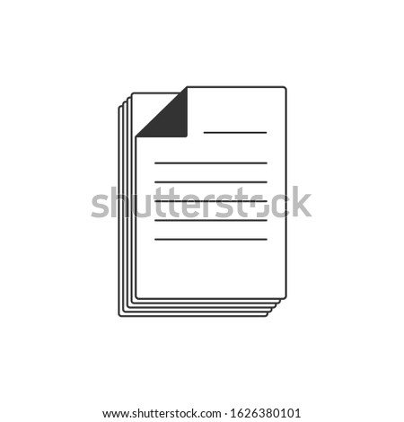 Documents line shape illustration. Document vector in white background. This document vector has several paper documents. This document consists of a document, documents clipper and documents icon.