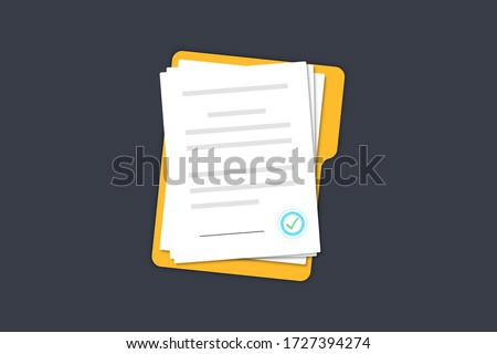 Documents papers. Contract. Folder with stamp and text. Folder and stack of white papers of agreements document with signature and approval stamp. Concept of paperwork. Simple, flat design