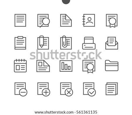 Documents Pixel Outlined Perfect Well-crafted Vector Thin Line Icons 48x48 Ready for 24x24 Grid for Web Graphics and Apps with Editable Stroke. Simple Minimal Pictogram Part 1-1