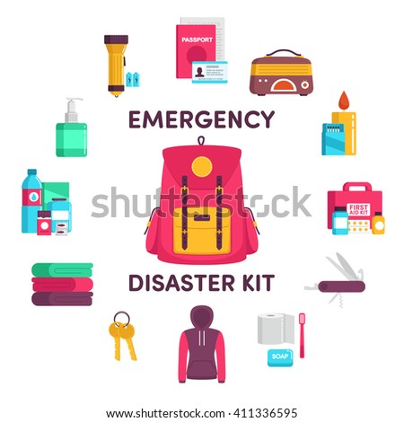 documents, radio, candle, matches, first aid kit, knife, clothes, keys, a blanket, water, food, flashlight