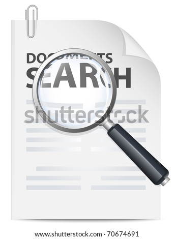Documents search icon. Vector