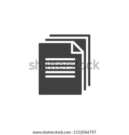 Documents stack vector icon. filled flat sign for mobile concept and web design. File documents simple solid icon. Symbol, logo illustration. Pixel perfect vector graphics