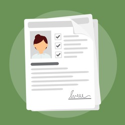Documents with personal data, paper stack with woman user profile informations and photo, concept of interview job, resume
