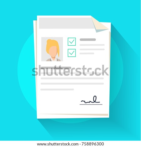Documents with personal data vector illustration, flat cartoon paper document pile or stack with user profile data and photo, concept of interview job, qualification test evaluation, cv