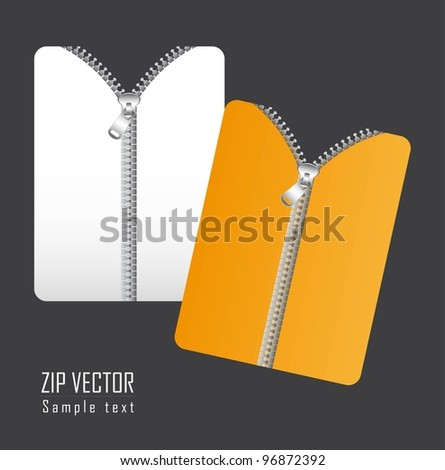 documents with zip over gray background. vector illustration