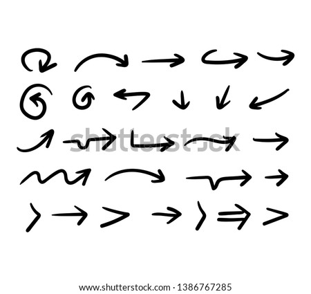 Doddle arrow set, collection of hand drawn arrows #1386767285