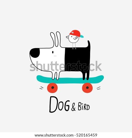 dog and bird on skateboard