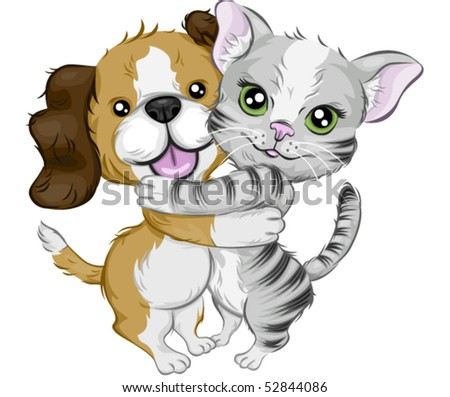 Dog and Cat Hugging - Vector