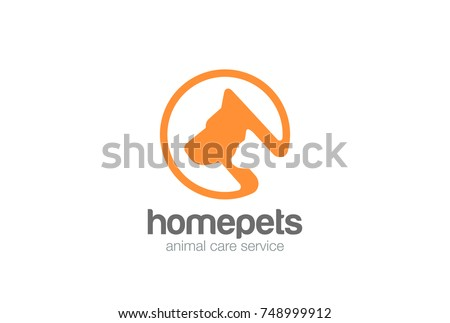 Dog and Cat Logo abstract silhouette design vector template. Home pets veterinary clinic store Logotype concept icon circle shape.