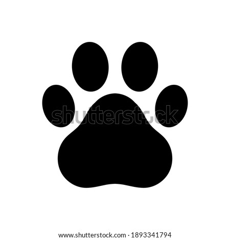 Dog and cat paw print vector icon. Paw of an animal, canine footprints. Traces of dog paws, dog paws. Trace of the cat, imprint of a tiger's track or lion.