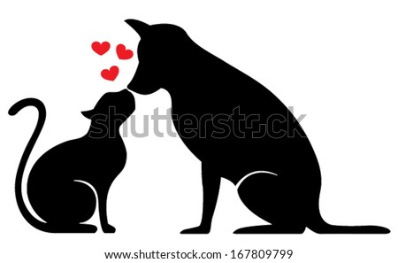 dog and cat silhouette on white