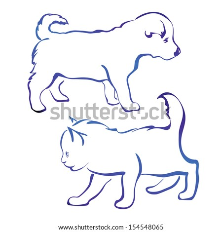 dog and cat silhouette vector illustration  sketch