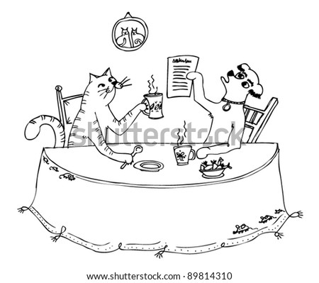 dog and cat sitting at the table