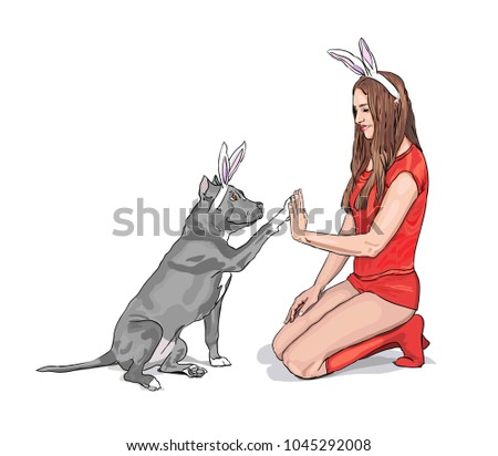 dog and girl in bunny ears