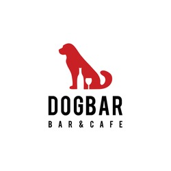 Dog animal Logo design with glass and bottle wine sign Template