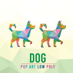 DOG ANIMAL PET POP ART LOW POLY LINE LOGO ICON SYMBOL. TRIANGLE GEOMETRIC POLYGON