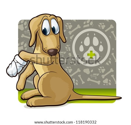 Dog at the doctor's. Cute illustration of first veterinary assistance dog.