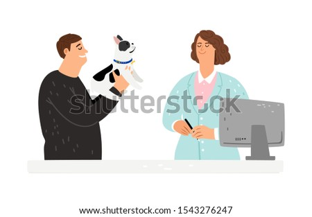 Dog at veterinarian. Rets hospital, owner with dog vector characters. Veterinary care Stok fotoğraf ©