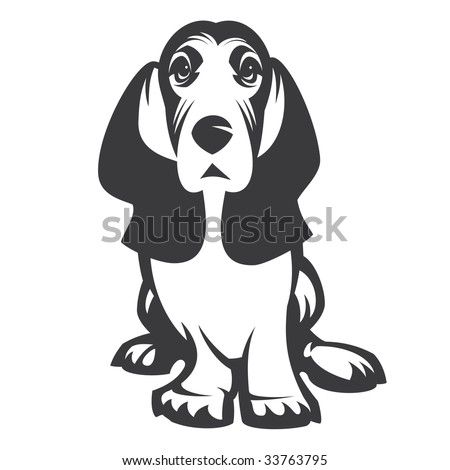 Dog Basset. 1 colour without a gradient