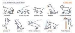 Dog behavior icons set. Domestic animal or pet language. Chewing, begging, biting, food stealing. Doggy reaction. Simple icon, symbol, sign. Editable vector illustration isolated on white background
