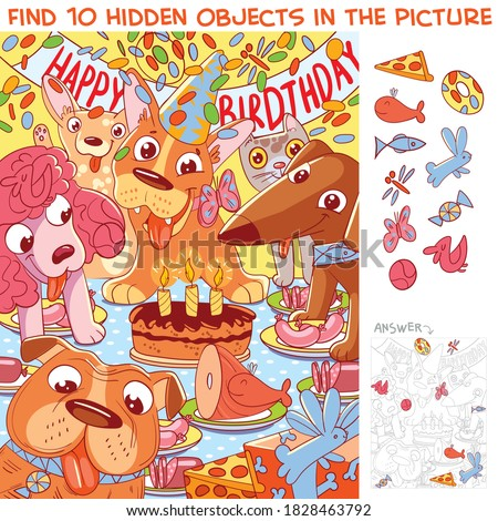 Dog birthday. Find 10 hidden objects in the picture. Puzzle Hidden Items. Funny cartoon character Stockfoto ©