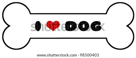 Dog Bone With Text. Vector Illustration