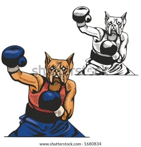 Dog Boxing Mascot for sport teams. Great for t-shirt designs, school mascot logo and any other design work. Ready for vinyl cutting.